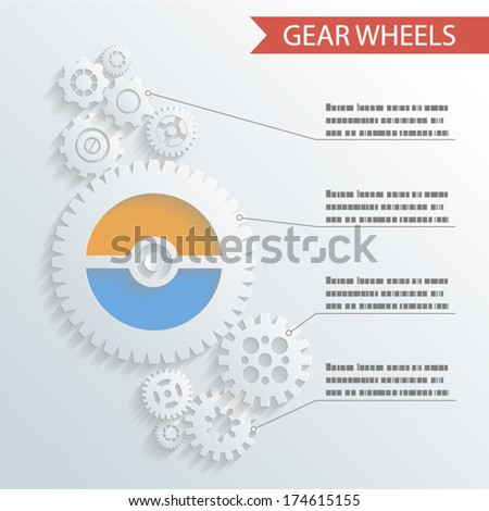Abstract Gear Wheels Infographics Background Concept Design Illustration vector - stock vector