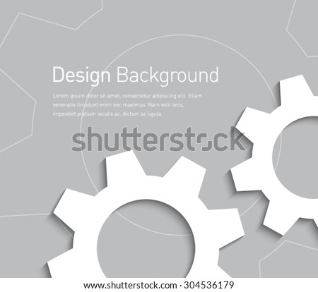 Abstract gear wheels symbol background for business design, technology, settings, working, advertisement. Flat design style