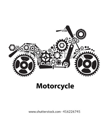 Abstract gears in Motorcycle shape - stock vector