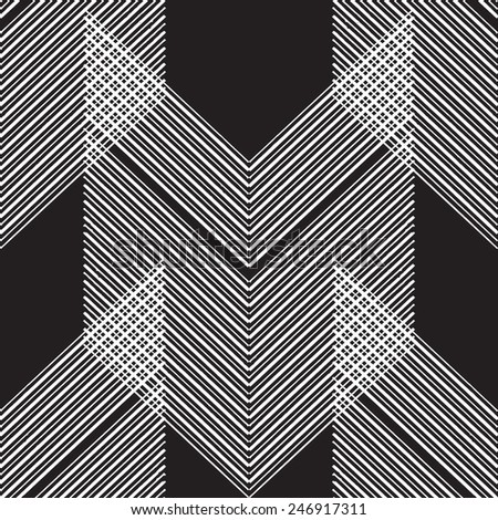 Abstract Geometric Art Deco Seamless Pattern on black background. Vintage style texture. Cloth design. Can be used for wallpaper, pattern fills, web page background and surface textures.  - stock vector