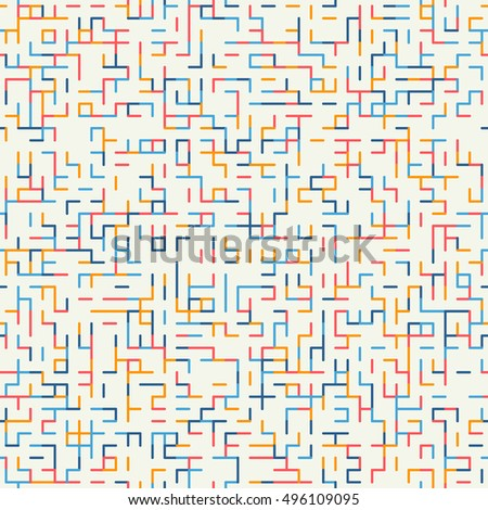 Abstract geometric background. Abstract technology pattern with colorful geometric shapes in tessellation. Linear abstract lattice, random coloring. Vector seamless linear pattern.