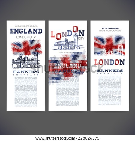 Abstract geometric background flag of England, with a picture london big ban. Design of banners,flyers,leaflets, brochures. - stock vector