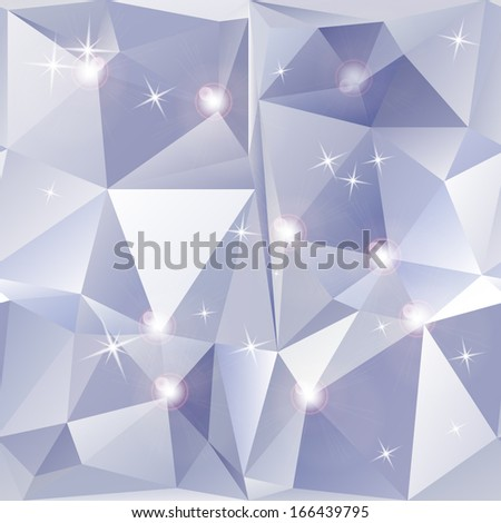 Abstract geometric background of sparkling blue triangles. Vector illustration - stock vector
