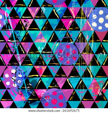 abstract geometric background pattern, with triangles, circles, strokes and splashes - stock vector