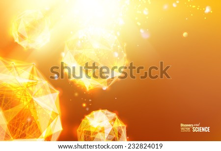 Abstract geometric background. Science template for your card, wallpaper or banner with a molecules of triangles. Vector illustration. - stock vector
