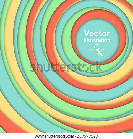 Abstract geometric background.  soft colors circles with shadows. Vector illustration