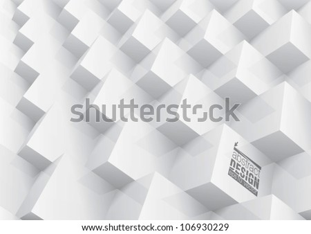 Abstract geometric background stacked white cube, you can change colors - stock vector