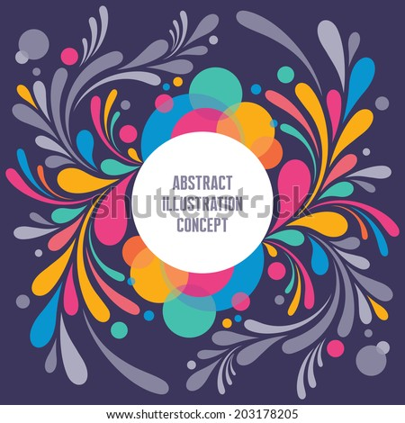 Abstract Geometric Background - Text Modern Frame - Curls vector structure for creative projects. Colored petals design elements. Invitation concept. - stock vector