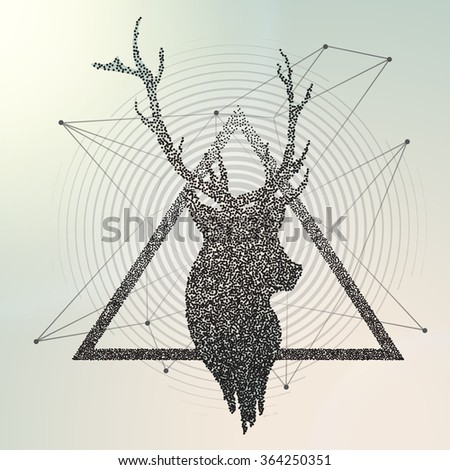 Abstract geometric background. Vector illustration engraving. Deer contour - stock vector