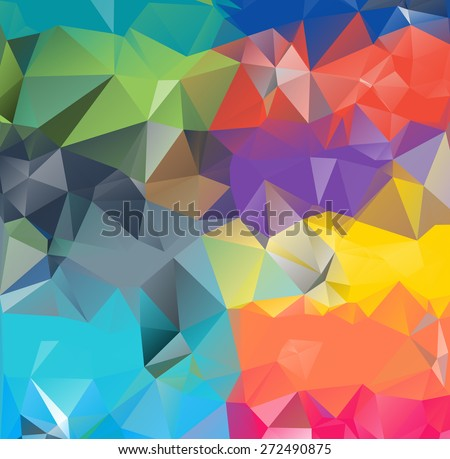 Abstract geometric background version 9. Multicolored triangles. Beautiful inscription. Triangle background with bright lines. Pattern of crystal geometric shapes. Mosaic banner - stock vector