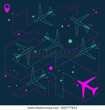 Abstract geometric background with airplanes. Vector illustration - stock vector