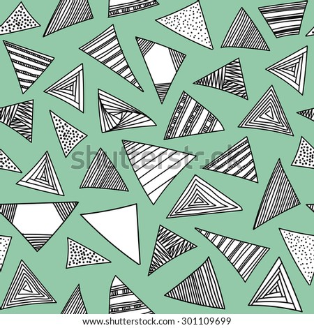 Abstract geometric background with hand drawn black and white triangles set. Vector seamless modern pattern. - stock vector