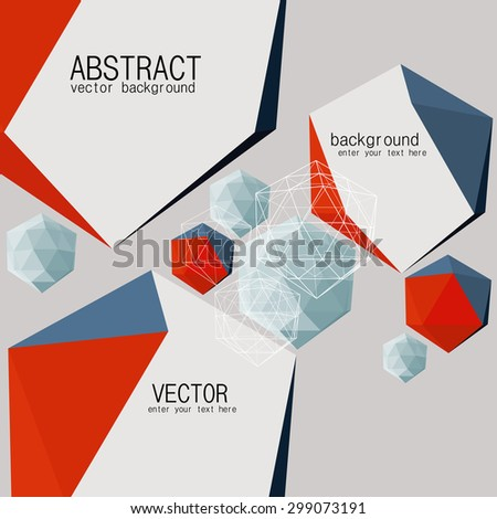 Abstract geometric background with polygons and crystals