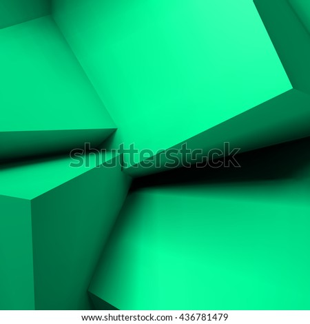 Abstract geometric background with realistic overlapping turquoise cubes - stock vector