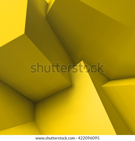 Abstract geometric background with realistic overlapping yellow cubes - stock vector