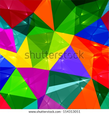 abstract geometric background with shiny colorful 3d shapes - stock vector