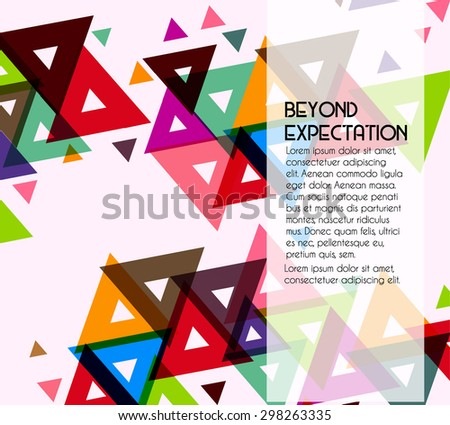 abstract geometric background with triangles and color shapes - stock vector