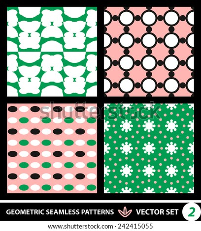 Abstract geometric backgrounds set, modern seamless pattern, retro style creative ornament, vector wallpaper, wrapping paper, 1960s, 1970s, 1980s, fashion, trendy style, template, layout for design - stock vector
