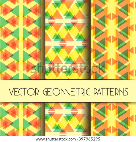 Abstract geometric bright patterns collection. Set of bright modern geometric textile patterns. Collection of unique and modern seamless abstract backgrounds with geometric figures - stock vector