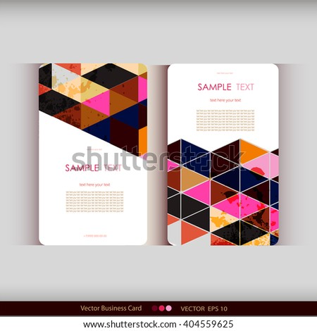 Abstract geometric business card Set.Vector illustration - stock vector