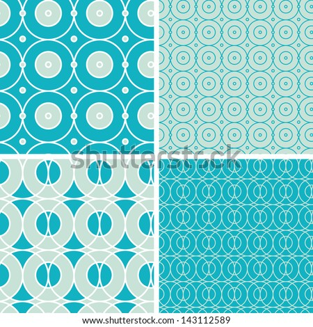 Abstract geometric circles seamless patterns set - stock vector