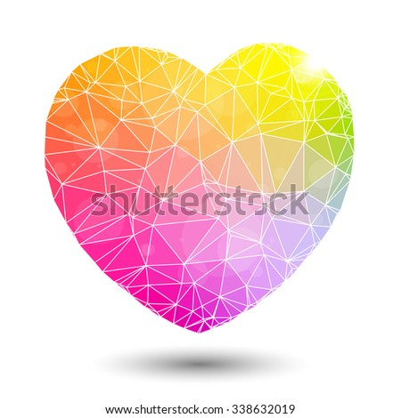 Abstract geometric colorful background heart shaped valentine. Triangular Background. Vector Illustration. Valentines Day gift.