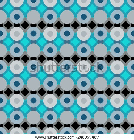 Abstract geometric colorful seamless pattern with circles and rhombus. Repeating background texture  - stock vector