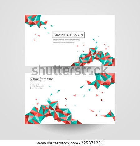 abstract geometric colorful triangles design for business card - stock vector