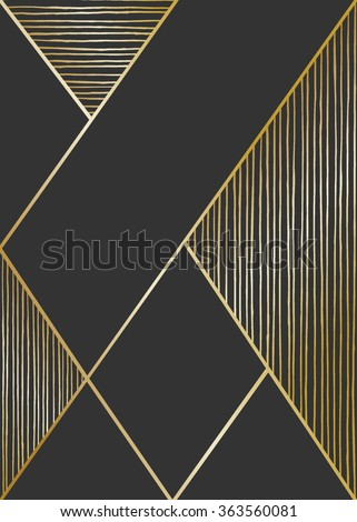 Abstract geometric composition in black and golden. Hand drawn lines texture and geometric elements. Modern and stylish abstract design poster, cover, card design. - stock vector