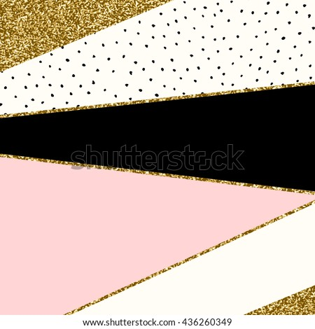 Abstract geometric composition in black, cream, gold glitter and pastel pink. Modern and stylish abstract design poster, cover, card design. - stock vector