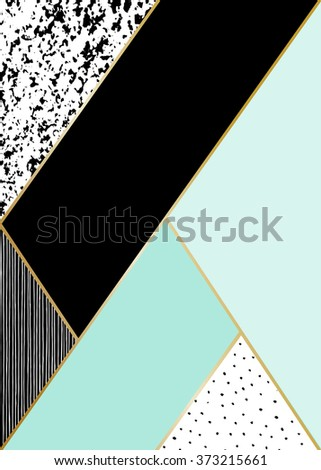 Abstract geometric composition in black, white, gold and mint. Hand drawn vintage texture, lines, dots pattern and geometric elements. Modern and stylish abstract design poster, cover, card design. - stock vector