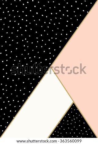 Abstract geometric composition in black, white, gold and pastel pink. Hand drawn dots pattern and geometric elements. Modern and stylish abstract design poster, cover, card design. - stock vector