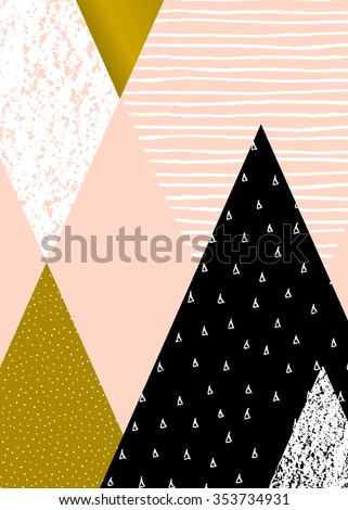 Abstract geometric composition in black, white, gold and pastel pink. Hand drawn vintage texture, dots pattern and geometric elements. Modern and stylish abstract design poster, cover, card design. - stock vector