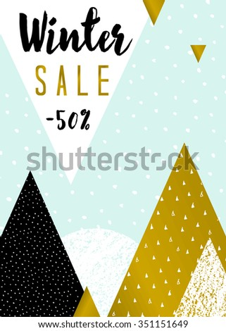 Abstract geometric composition in light blue, white, black and gold. Modern winter sale poster, flyer, brochure design. - stock vector