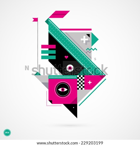 Abstract geometric creature on white background. EPS10 - stock vector