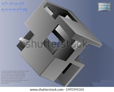abstract geometric cube - stock vector