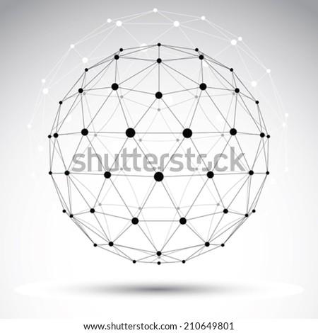 Abstract geometric 3D wireframe object, vector illustration, clear eps 8. - stock vector