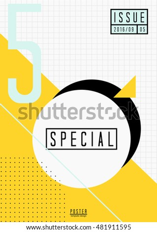 Abstract geometric design in black, white, light blue and yellow. Minimalist style poster, brochure, magazine cover design.
