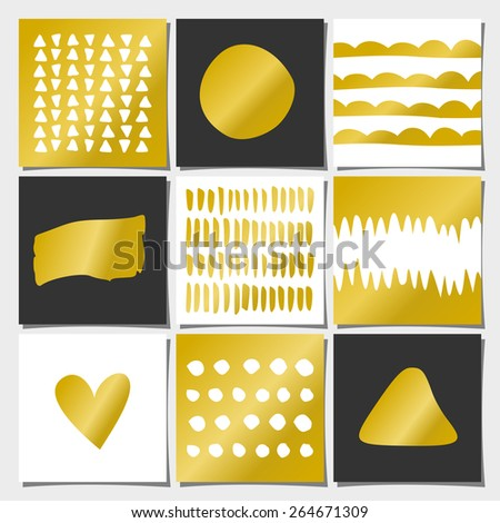 Abstract geometric designs in gold, white and black. Wedding, engagement and bridal shower invitations, birthday, anniversary and holiday card templates. Brush strokes, faux golden foil, copy space. - stock vector