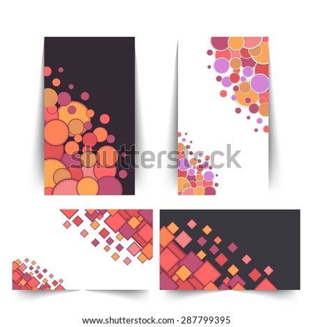 Abstract Geometric Elements Style Web Banner Set - stock vector