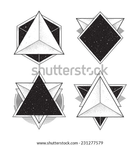 Abstract geometric frames. Hipster style design elements. Vector illustration. - stock vector