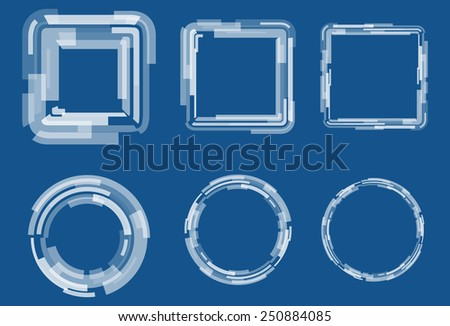 Abstract geometric framework set  of rectangles with different transparency. Square and round shapes. Vector futuristic design elements. Blue and white colors. - stock vector