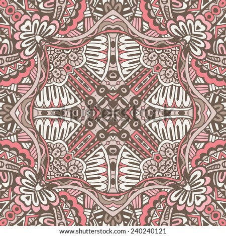 Abstract geometric grunge vector ethnic tribal pattern - stock vector