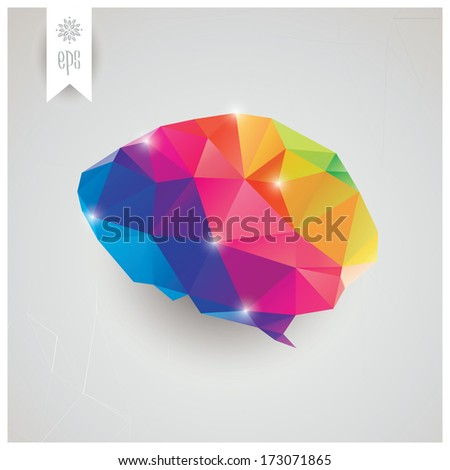 Abstract geometric human brain, triangles, creativity, vector illustration - stock vector