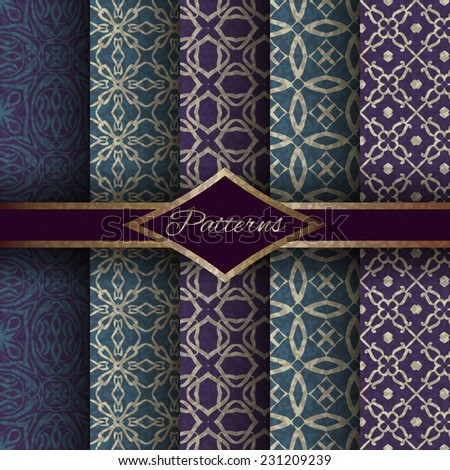 abstract geometric lace vector seamless pattern set. retro pattern set - stock vector