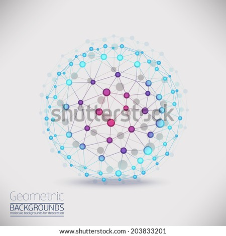Abstract geometric lattice, the scope of molecules, the molecules in the circle. Round composition of the molecular lattice. Color composition vector for your design. - stock vector
