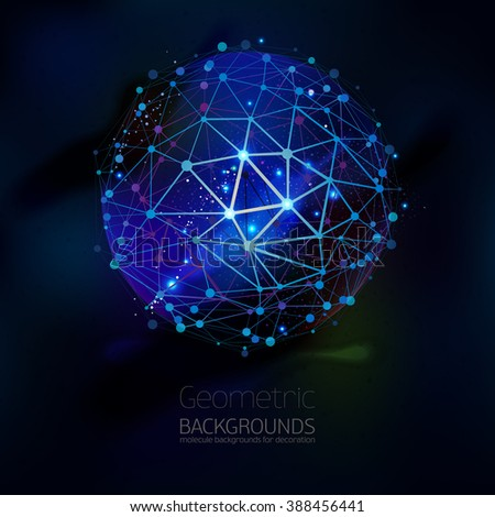Abstract geometric lattice, the scope of molecules, the molecules in the circle. Round composition of the molecular lattice on black background. Color vector. Geometric triangle forms - stock vector