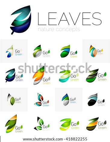 Abstract geometric leaves, company logo collection, nature icon set. Vector illustration - stock vector