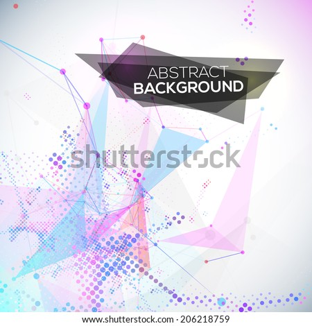 Abstract geometric lines modern grunge vector background with halftones - stock vector