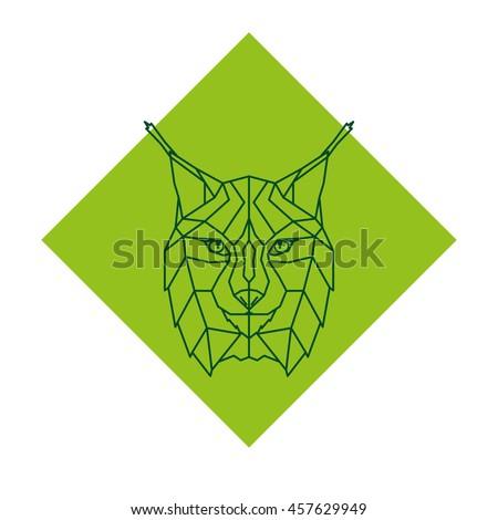 Abstract geometric lynx head logo. Vector illustration.  - stock vector